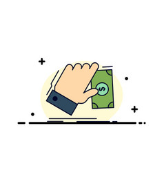 business hand money earn dollar flat color icon vector image