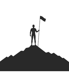 Businessman Holding Flag on Mountain vector image