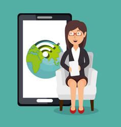 Businesswoman working with smartphone vector