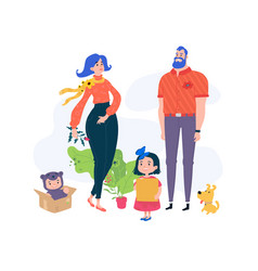 cartoon family funny characters dad mom and vector image