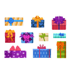 cartoon gift boxes wrapped birthday and christmas vector image