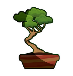 Cartoon pot tree bonsai decoration ornament shadow vector
