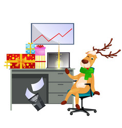 cartoon reindeer sitting on chair in office vector image