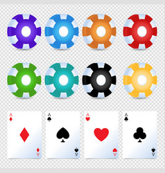 casino colorful chips betting card simple set vector image