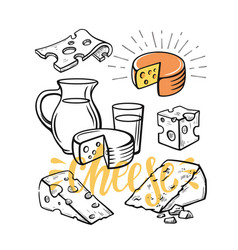cheese set sketch vector image