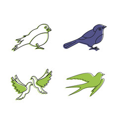 city bird icon set color outline style vector image