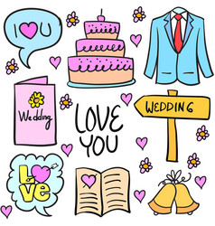 collection of wedding stock in doodles vector image