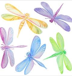 collection watercolor dragonflies vector image
