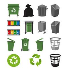 Colorful cartoon trash element set vector
