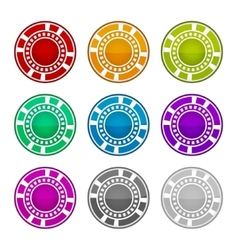 Colorful Casino Chips on a White Background vector image