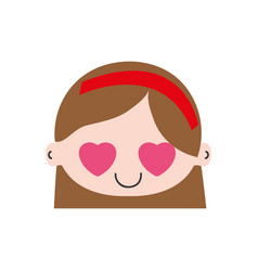 Colorful head girl in love with hair and headband vector