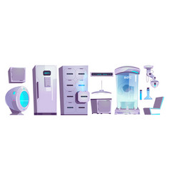 cryonics laboratory equipment and technics set vector image