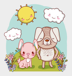 cute animals rabbit and dog grass sun cartoon vector image
