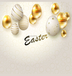 easter light composition with eggs on pendants in vector image