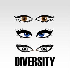 Eyes of women showing diversity vector