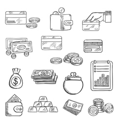 Finance business and money icons sketches vector image