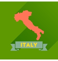 Flat icon with long shadow italy map vector