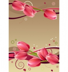 frame with hearts and tulips vector image