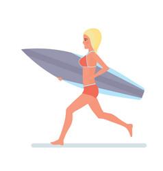 girl holding board in hands runs along beach in vector image
