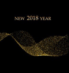 gold metallic wave glitter of confetti on a black vector image