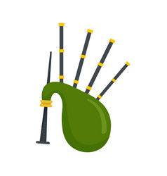 Green bagpipes icon flat style vector