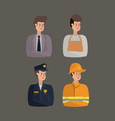 Group of workers avatars characters vector