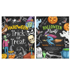 halloween holiday horror poster on chalkboard vector image