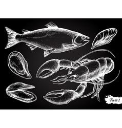 Hand drawn seafood chalkboard set vector