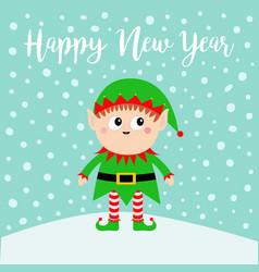 happy new year santa claus elf on snowdrift green vector image