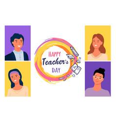 happy teachers day portraits best masters vector image