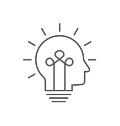 Human head bulb lamp logo idea smart icon vector