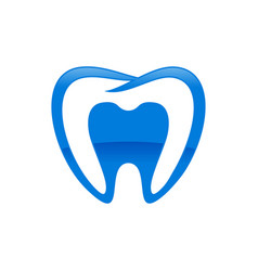 Inside dental shape blue symbol design vector