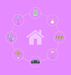 interior design elements in circles around house vector image