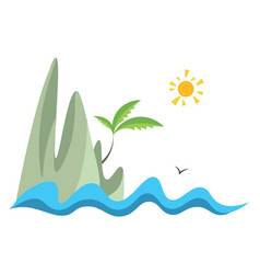 island hand drawn design on white background vector image