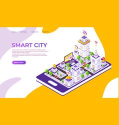 isometric city landing page futuristic digital vector image
