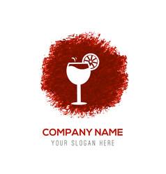 juice icon cocktail drink icon - red watercolor vector image