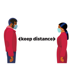 keep distance concept young man and woman in vector image