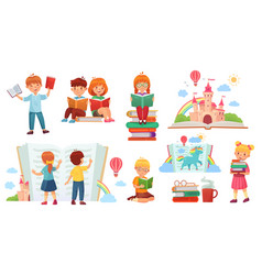 kids reading book cartoon child library happy vector image