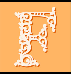 Laser cut template initial monogram letters vector