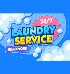 Laundry service dry clothing typography banner vector