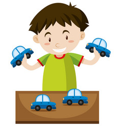 Little boy playing with toy cars vector