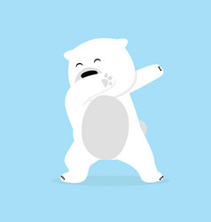 Lonely polar bear dabbing movement vector