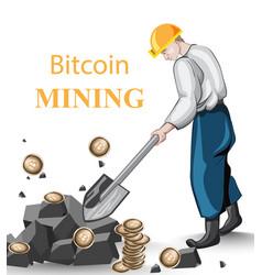 man mining bitcoins concept vector image