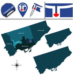 map of toronto with neighborhoods vector image