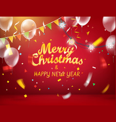 Merry christmas and happy new year red vector
