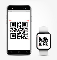 mobile phone and smart watch with qr-code on vector image
