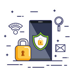 mobile phone security technology protection online vector image