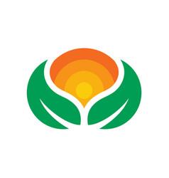 natural natural green leaf logo vector image