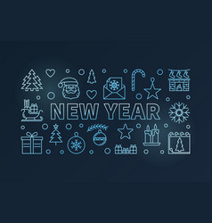 new year blue horizontal concept vector image