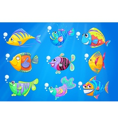 Nine colourful fishes under the deep ocean vector